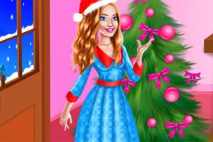 女孩过圣诞节夜在线玩